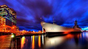 Preview wallpaper ship, night, light, sky, city, port
