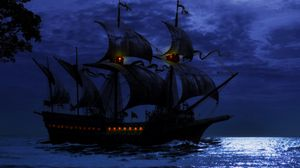 Preview wallpaper ship, night, sea, art, waves