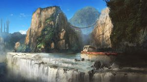 Preview wallpaper ship, rock, cliff, waterfall, skyscraper