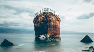 Preview wallpaper ship, rusty, ruined, sea, shore