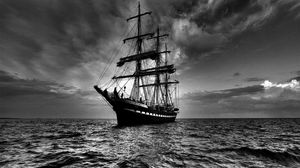 Preview wallpaper ship, sea, sail, storm, black white