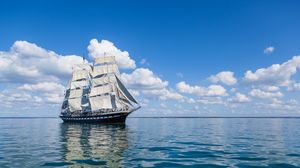 Preview wallpaper ship, sea, sky, sail, wave