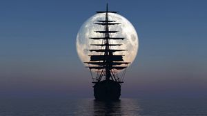 Preview wallpaper ship, sea, sunset, moon