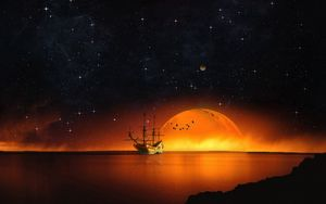 Preview wallpaper ship, starry sky, night, sea, photoshop