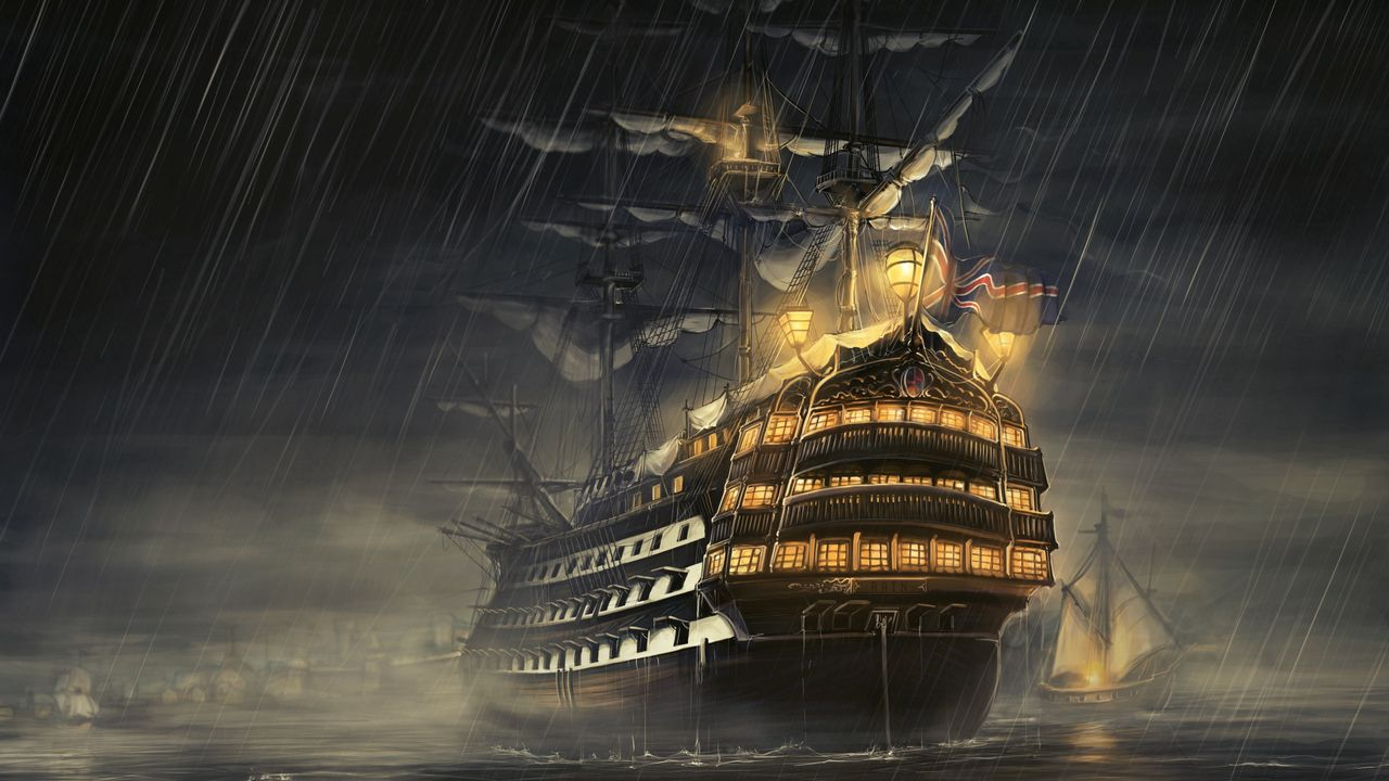 Wallpaper ships, sea, light, rain