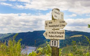 Preview wallpaper signs, germany, pole, directions, mountains