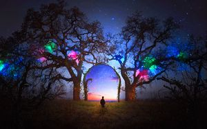 Preview wallpaper silhouette, arch, starry sky, photoshop, fabulous, fantastic