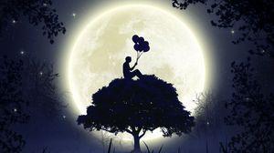 Preview wallpaper silhouette, balloons, moon, full moon, tree, art