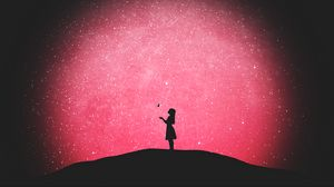 Preview wallpaper silhouette, butterfly, girl, starry sky, loneliness