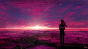 Preview wallpaper silhouette, city, aerial view, art, night