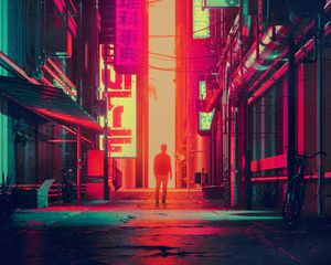 Preview wallpaper silhouette, city, street, art, futurism