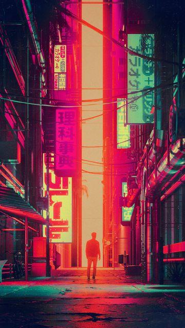 360x640 Wallpaper silhouette, city, street, art, futurism