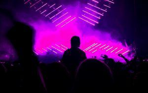 Preview wallpaper silhouette, dark, crowd, show, neon