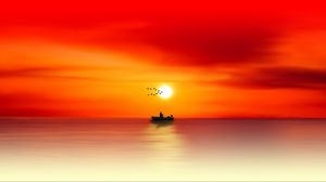 Preview wallpaper silhouette, dawn, sea, angler, fishing