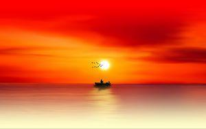 Preview wallpaper silhouette, dawn, sea, angler, fishing