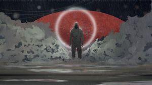 Preview wallpaper silhouette, demon, art, rain, circle