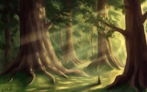 Preview wallpaper silhouette, forest, alone, trees, art