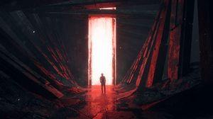Preview wallpaper silhouette, glow, portal, light, red