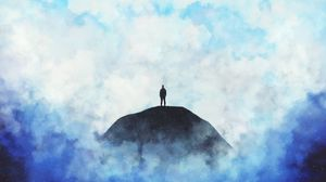 Preview wallpaper silhouette, loneliness, clouds, hill