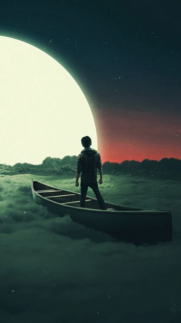 360x640 Wallpaper silhouette, moon, boat, lonely, loneliness, surrealism