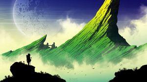 Preview wallpaper silhouette, mountains, art, vector, landscape