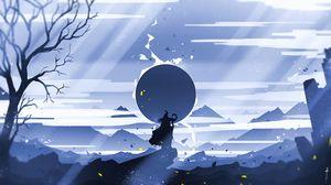 Preview wallpaper silhouette, mountains, sun, travel, art