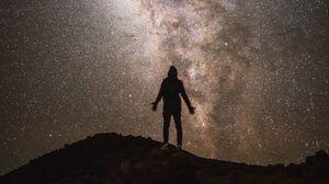 Preview wallpaper silhouette, night, starry sky, stars, milky way, dark
