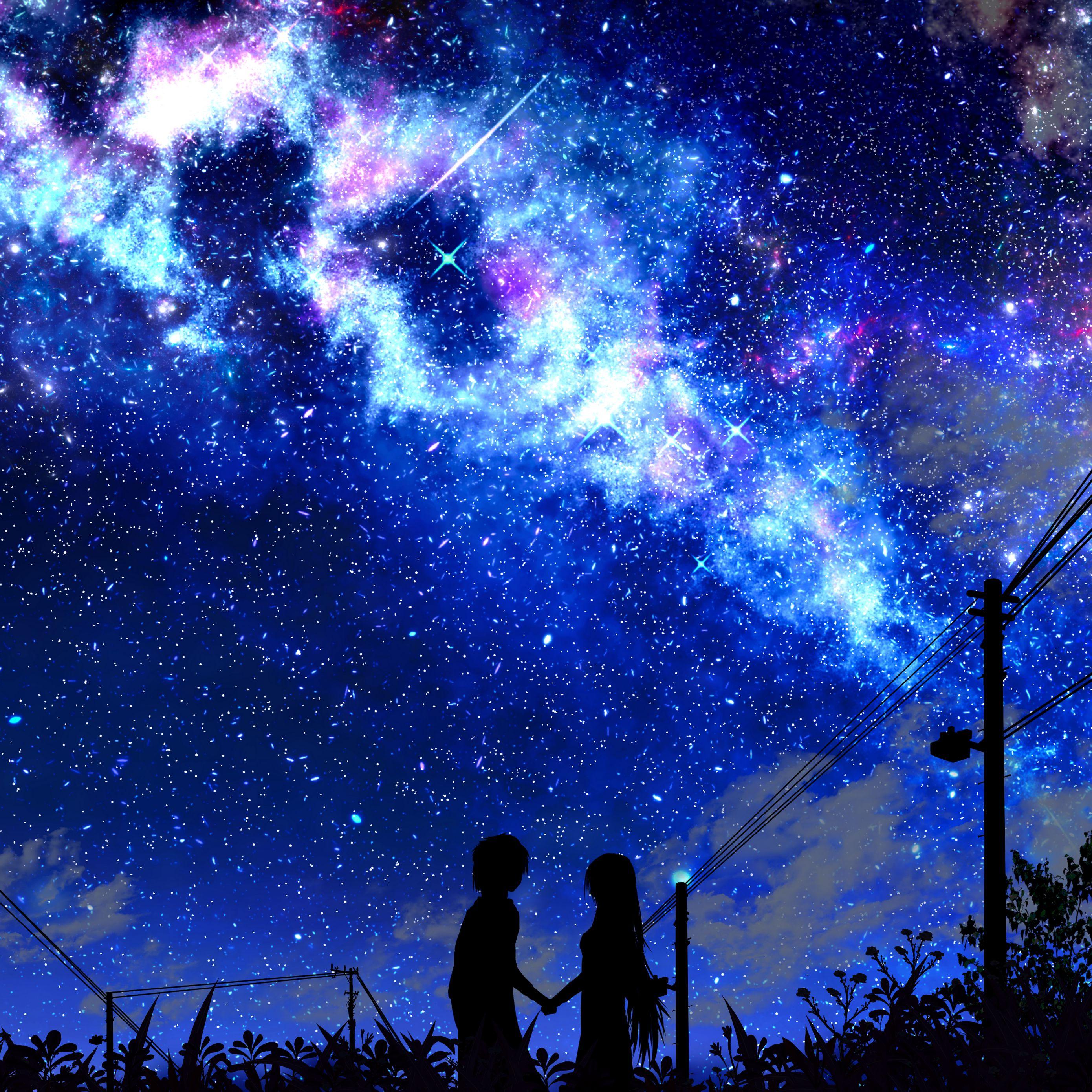 2780x2780 Wallpaper silhouette, night, starry sky, art, dark