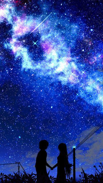360x640 Wallpaper silhouette, night, starry sky, art, dark