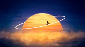 Preview wallpaper silhouette, planet, orbit, cyclist, photoshop, fantasy