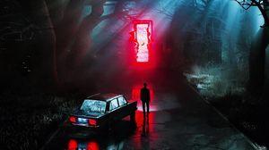 Preview wallpaper silhouette, portal, glow, night, car, dark