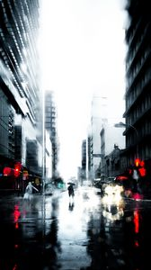 Preview Wallpaper Silhouette Rain Loneliness City