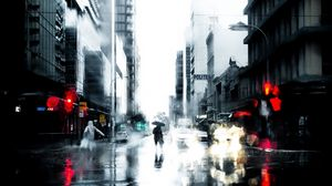 Preview wallpaper silhouette, rain, loneliness, city