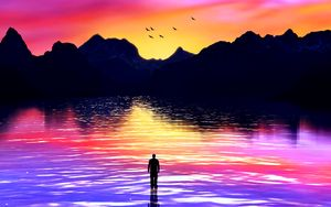 Preview wallpaper silhouette, sea, art, mountains, colorful, sunset