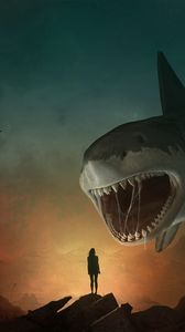 Preview wallpaper silhouette, shark, art, mouth, teeth, predator, illusion