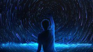 Preview wallpaper silhouette, starry sky, art, night, shine, blue