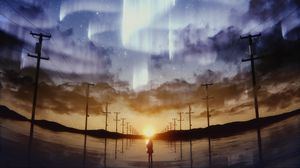 Preview wallpaper silhouette, starry sky, pillars, horizon, sky, art