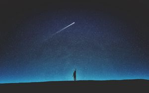 Preview wallpaper silhouette, starry sky, shooting star, night, art