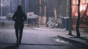 Preview wallpaper silhouette, street, night, snow