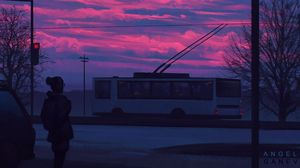Preview wallpaper silhouette, sunset, transport, art, city, street, clouds