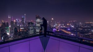 Preview wallpaper silhouette, top view, city, skyscrapers