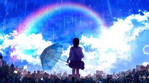Preview wallpaper silhouette, umbrella, rainbow, rain, art