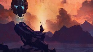 Preview wallpaper silhouette, warrior, sword, rock, fantasy, art