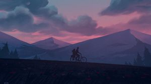Preview wallpaper silhouettes, bike, night, mountains, art
