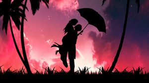 Preview wallpaper silhouettes, couple, love, romance, hugs, palm trees, dark