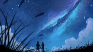 Preview wallpaper silhouettes, couple, starry sky, brilliance, art
