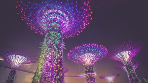 Preview wallpaper singapore, artificial trees, lighting, decoration, city