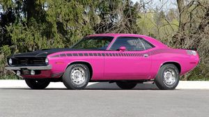 Preview wallpaper 1970, plymouth, cuda, pink