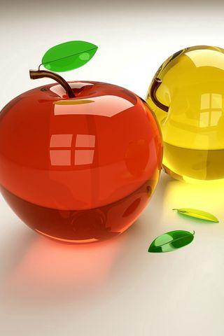 320x480 Wallpaper 3d, fruit, glass