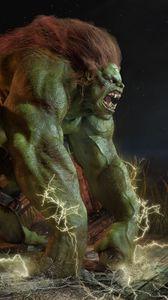 Preview wallpaper abraao segundo, monster, green, hair, chains, irons, discharge